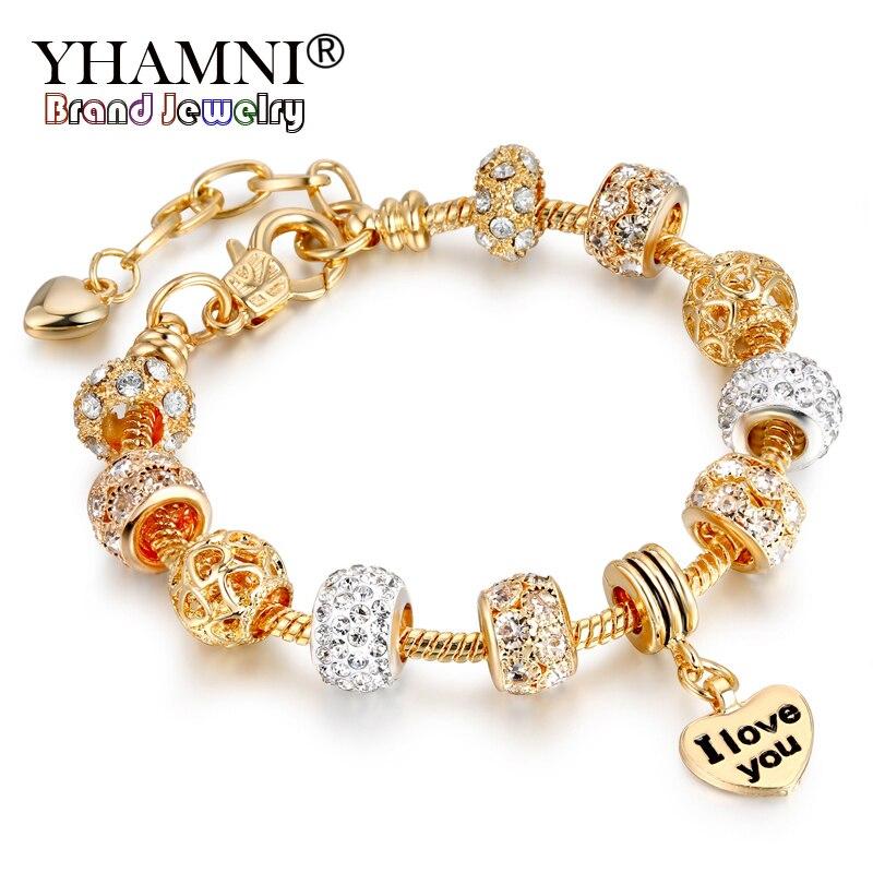 90%! Bracelet en or Original perles de cristal chaîne Pulseras I Love You bracelets à breloques bracelets bijoux cadeau pour femmes HSL151
