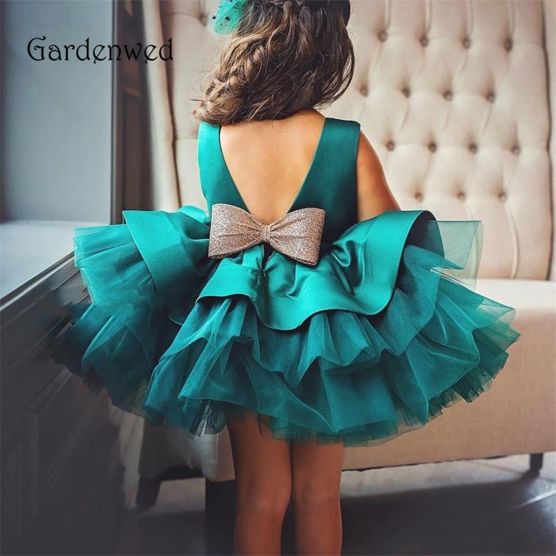 Peacock Flower Girl Dress 2020 Birthday Party Baptism Princess Dress Tiered Skirt Kids Girls Dress Open Back Satin Child Gowns