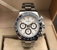 Szafirowy kryształ 39mm PARNIS japoński mechanizm kwarcowy zegarek męski wielofunkcyjny zegarek kwarcowy ceramiczna ramka szkiełka zegarka 5Bar pa182 pp8 w Zegarki kwarcowe od Zegarki na