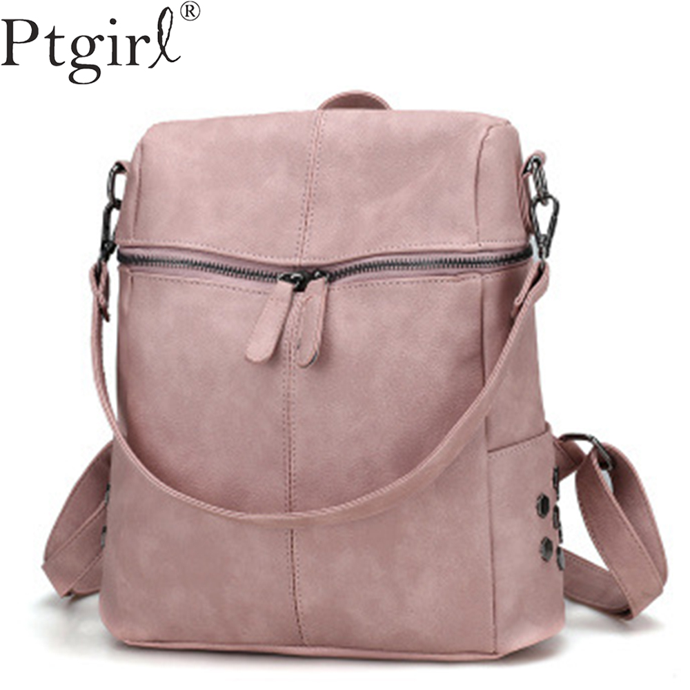 Casual Large Capacity Shoulder Bags Vintage Women Ptgirl Backpack Nubuck Leather Pu School Backpacks For Teenage Girls Boys Sac