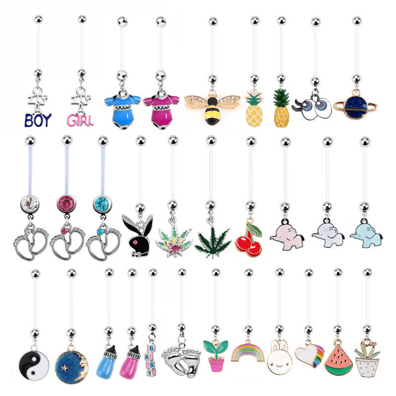 1PC Crystal Mix Pregnancy Belly Rings Flexible Barbell Maternity Dangle Belly Button Rings Body Piercing Jewelry Accessories