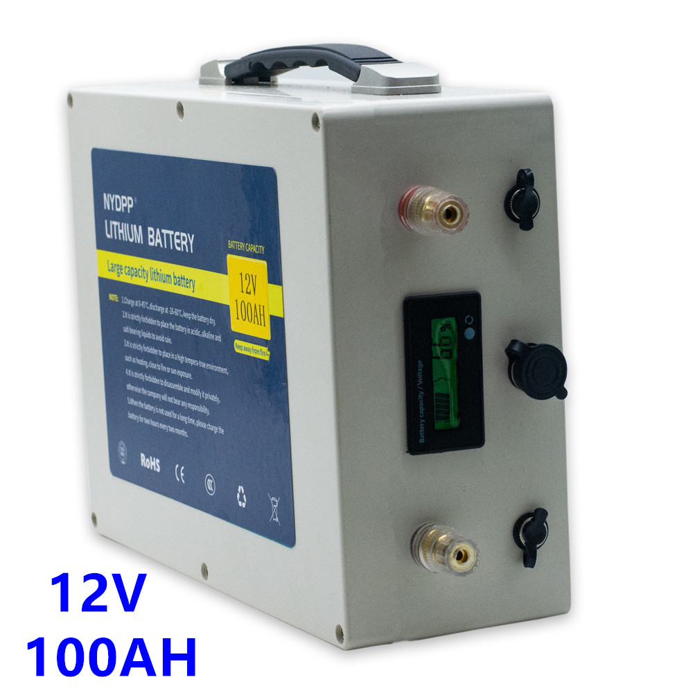 Lithium <font><b>battery</b></font> 12v 100AH lithium ion <font><b>battery</b></font> <font><b>pack</b></font> built-in BMS with 10A charger for inverter,electric motor of boat,golf cart image