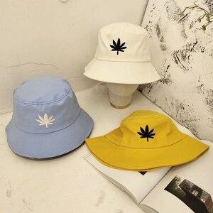 Hommes femmes feuille d'érable seau chapeau Hip Hop pêcheur Panama chapeaux broderie coton en plein air été décontracté Swag Bob visière seau casquette