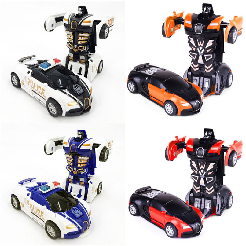 2 in 1 One-key Collision Deformation Car Toys Automatic Transformation Robot Plastic Vehicles Boys Toy Model Cars Kids Baby Gift