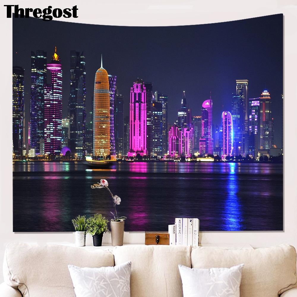 The Building Scenic 3D Print Tapestry Wall Hanging Psychedelic Wall Tapestry Wall Decor Bedspread Yoga Mat Picnic Cloth