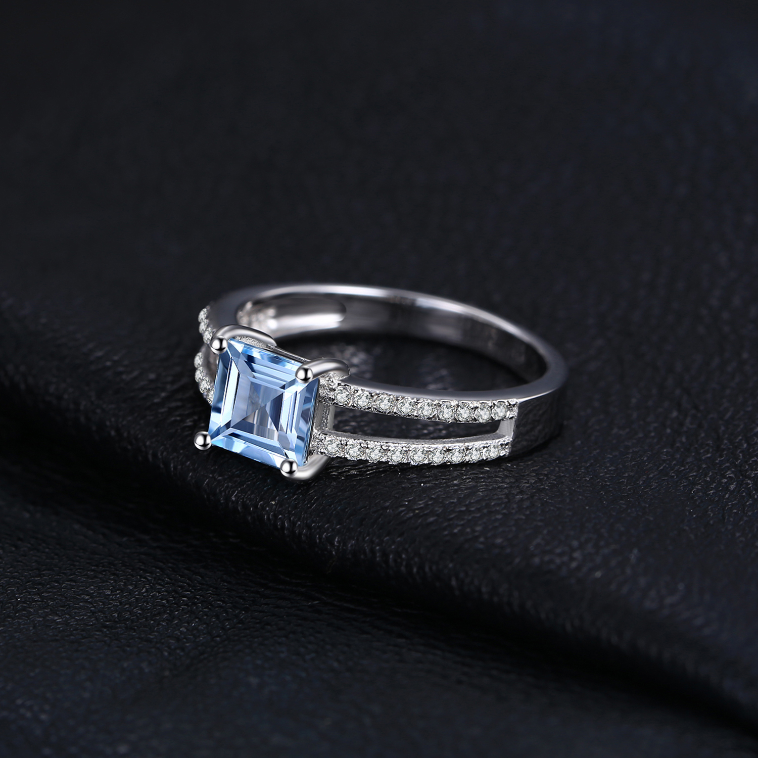 Image 2 - JewelryPalace Princess Genuine Blue Topaz Ring 925 Sterling  Silver Rings for Women Engagement Ring Silver 925 Gemstones Jewelryring  fashionring forrings for women