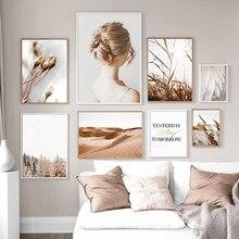 Penas flor menina reed deserto nórdico cartazes e impressões murais quadros em tela murais sala de estar
