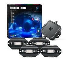 MICTUNING Kit déclairage néon, multicolore, avec télécommande C1, 4 dosettes RGBW LED, éclairage Rock, avec télécommande Bluetooth, Mode musique