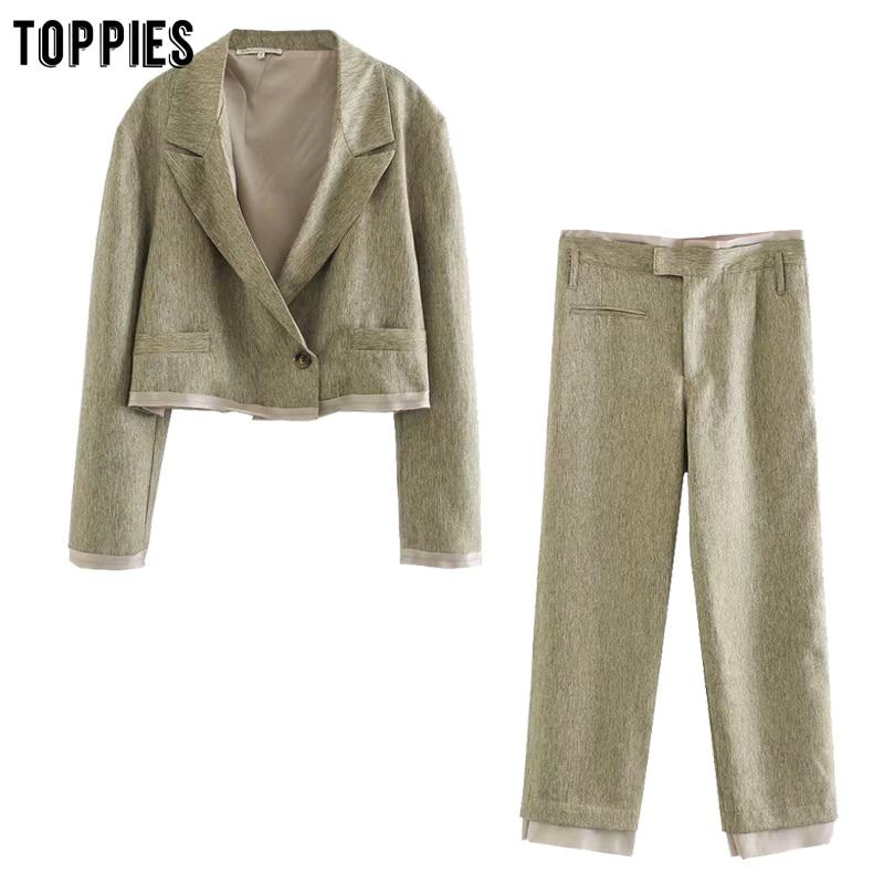 Toppies Women Spliced Linen Suit Sets Ladies Short Blazer Jacket Single Button High Waist Pants Summer Two Piece Set 2020