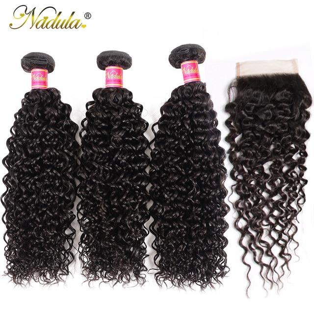 $ US $92.32 Nadula Hair Malaysian Curly Hair With Closure 3 Bundles With Closure Malaysian Hair Bundles With Closure Natural Color Remy Hair