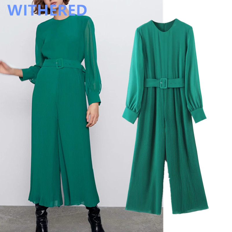 Withered 2020 Spring England Style Vintage Pleated Elegant Sashes Solid Jumpsuit Women Rompers Womens Jumpsuit Combinaison Femme