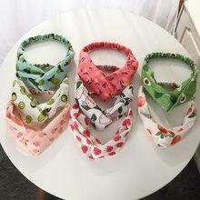 Verão bohemia estilo headbands abacate pêssego fruta impressão hairband mulheres cruz atada macio imitado turbante de seda acessórios para o cabelo