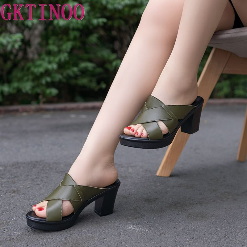 GKTINOO New Sandals Women Genuine Leather Sandals Thick Heel Slippers Woman Platform Wedges Summer Shoes Pumps Woman Flip Flops
