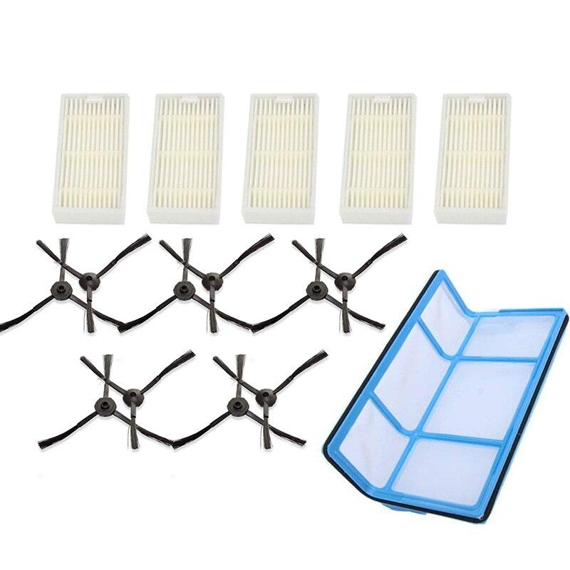 5 filtry + 10 szczotki boczne dla Medion Md 16192 Md 18500 Md 18501 Md 18600 części zamienne