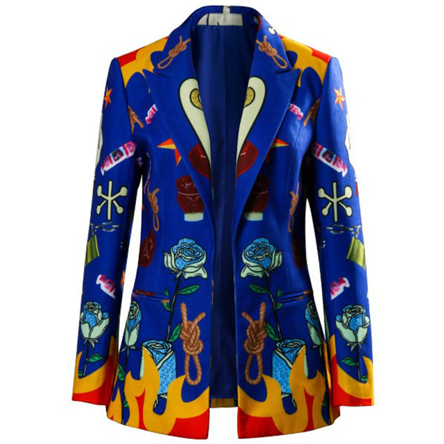 Birds of prey: and the fantabulous emancipation of a quinn cosplay costume jacket adult female halloween party printed blue suit