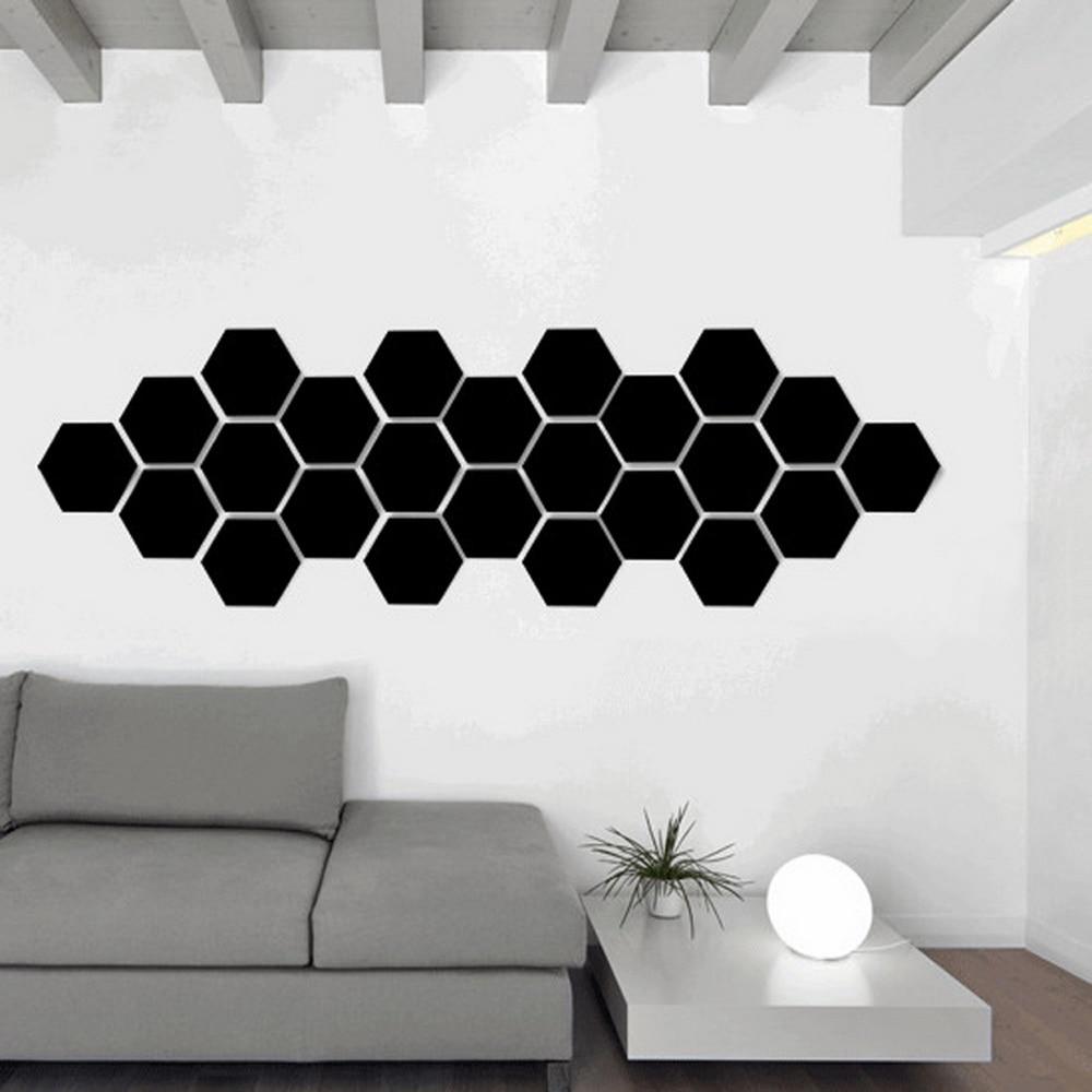 12PCs/Set DIY 3D Mirror Wall Sticker Hexagon Home Decor Mirror Decor Stickers Art Wall Decoration Stickers Multi-color Drop ship 8