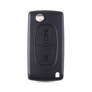 Image 2 - KEYYOU katlanır 2 düğme araba uzaktan anahtar kovanı için PEUGEOT 206 307 308 207 407 408 Citroen C2 C3 c4 C5 C6 C8
