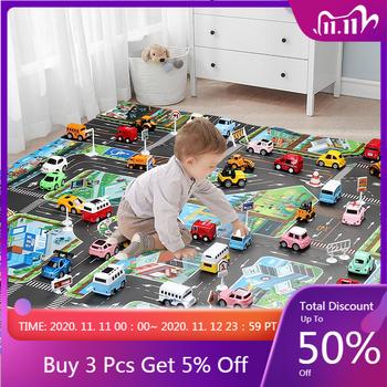 Mata do zabawy dla dzieci dywan drogowy dla dzieci Cartoon Traffic Rug dla małych chłopców i dziewcząt zabawki dla dzieci Playmat Babies grający w matę edukacyjną tanie i dobre opinie Płótno CN (pochodzenie) 130CM*100CM Unisex Edukacyjne EN27 Cała 0 1cm 13-24 miesięcy 3 lat play mat baby toy Waterproof carpet