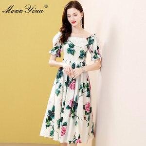 Image 4 - MoaaYina robe styliste, manches bouffantes, imprimé Floral, roses, en coton, pour vacances, printemps été