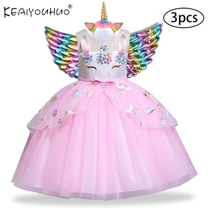 Christmas Girls Dress Costumn Rainbow Unicorn Dress For Girls Princess Dress Baby Kids Clothes Birthday Party Vestidos 2 6 10 Y(China)