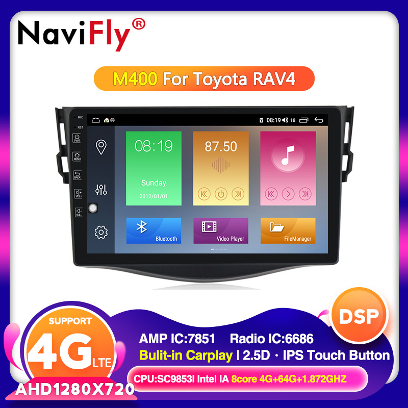 2din Android 10.0 Car DVD VIDEO Player for Toyota RAV4 <font><b>Rav</b></font> <font><b>4</b></font> 2007 2008 2009 2010 <font><b>2011</b></font> Car Radio GPS Navigation Wifi 4G Player image