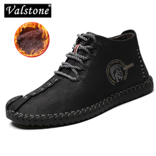 Valstone Hot sale Winter Mens Leather Casual sneakers large size 48 vintage Frosty boots High Top warm shoes khaki black golden