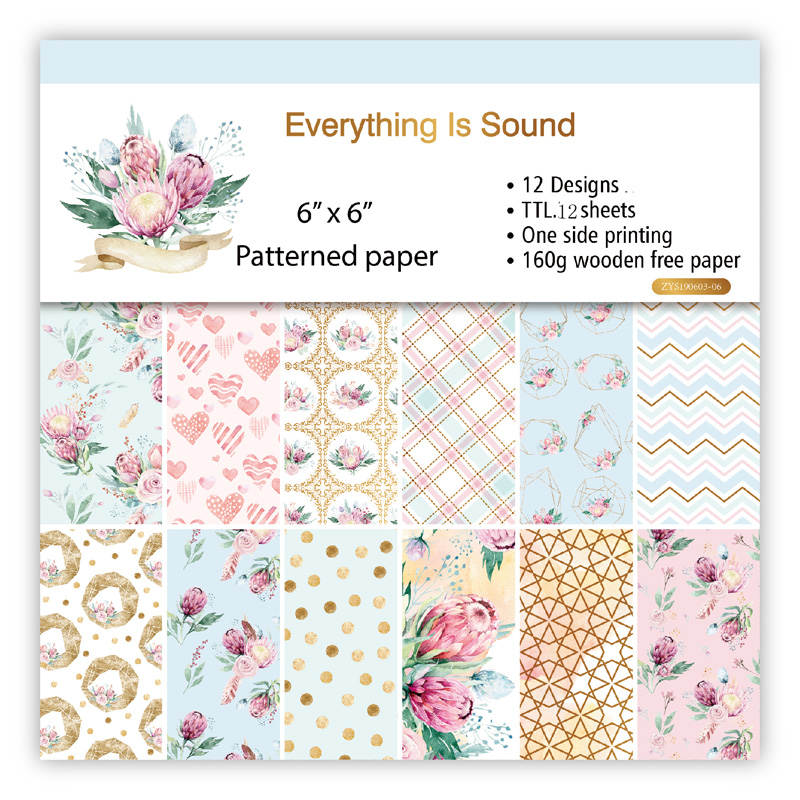 KLJUYP 12 Sheets Everything Is Sound Scrapbooking Pads Paper Origami Art Background Paper Card Making DIY Scrapbook Paper Craft