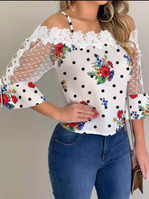 2019 Autumn Women Elegant Stylish Party Top Female Fashion Basic Casual Shirt Cold Shoulder Mesh Insert Dots Floral Print Blouse yellow cold shoulder floral print pleated blouse