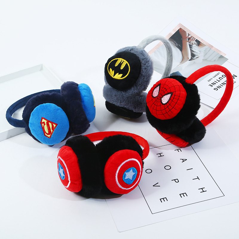 Kids Fur Earmuffs Marvel Superhero Boys Earmuffs Cartoon Spiderman Batman Winter Earmuffs Winter Accessories Wholesale