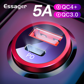 Essager Quick Charge 4.0 3.0 USB Car Charger For iPhone Xiaomi Mobile Phone 5A SCP QC4.0 QC3.0 QC Type C PD Car Fast USB Charger baseus usb car charger quick charge 4 0 3 0 qc4 0 qc3 0 qc scp 5a type c pd fast car usb charger for iphone xiaomi mobile phone