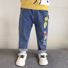 Nadruk kreskówkowy dżinsy dla chłopców spodnie dżinsowe spodnie dla dzieci spodnie na co dzień dla 1 2 3 4 5 6 7 8 9 lat dzieci chłopców ubrania pantalones tanie tanio JJGRY Nowość Pasuje prawda na wymiar weź swój normalny rozmiar Baby Boys Cartoon print Jeans 0721008 Elastyczny pas