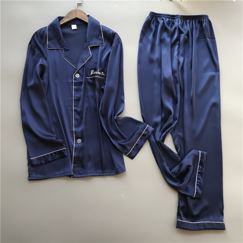 Solid Satin Men Pajamas Set Summer Long Sleeve Autumn Homewear Silk Men Sleepwear Suit Casual Two-Piece Pyjamas Male L-XXXL