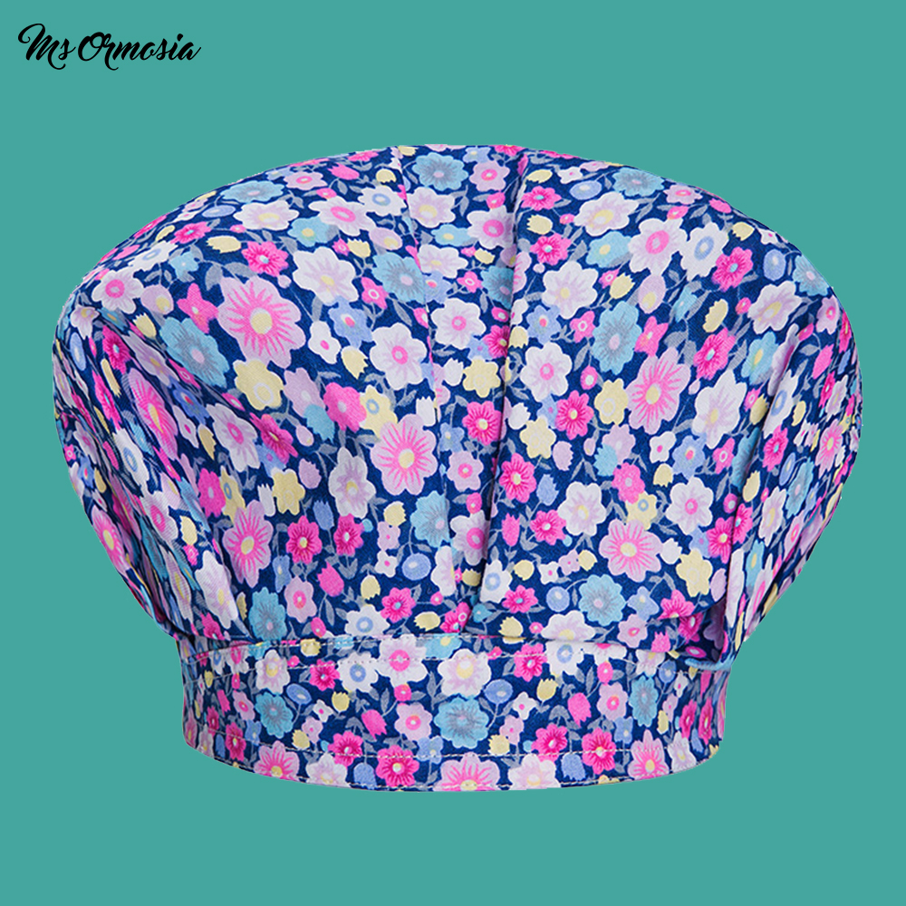 Flower Printing Men And Women 100% Cotton Medical Care Cap Beauty Hospital Doctor Cap Pharmacy Nurse Cap Female Beam Beauty Hat