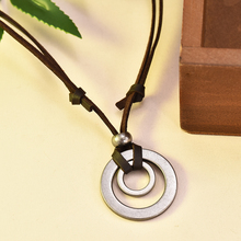 2019 Vintage Pendant Jewelry Christmas Gift Initial Necklace for Men Double Circle Circle Adjustable brown Leather Cord Necklace