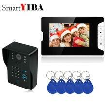 SmartYIBA 7 pouces RFID kits dinterphone de porte daccès Code de mot de passe clavier IR caméra vidéo porte cloche pour système de sécurité à la maison