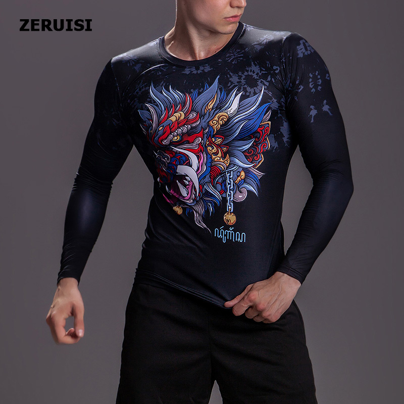 New Arrival 3D Printed T shirts Men Compression Shirt Costume Long Sleeve Tops For Male Fitness Hip hop Clothing-in T-Shirts from Men's Clothing