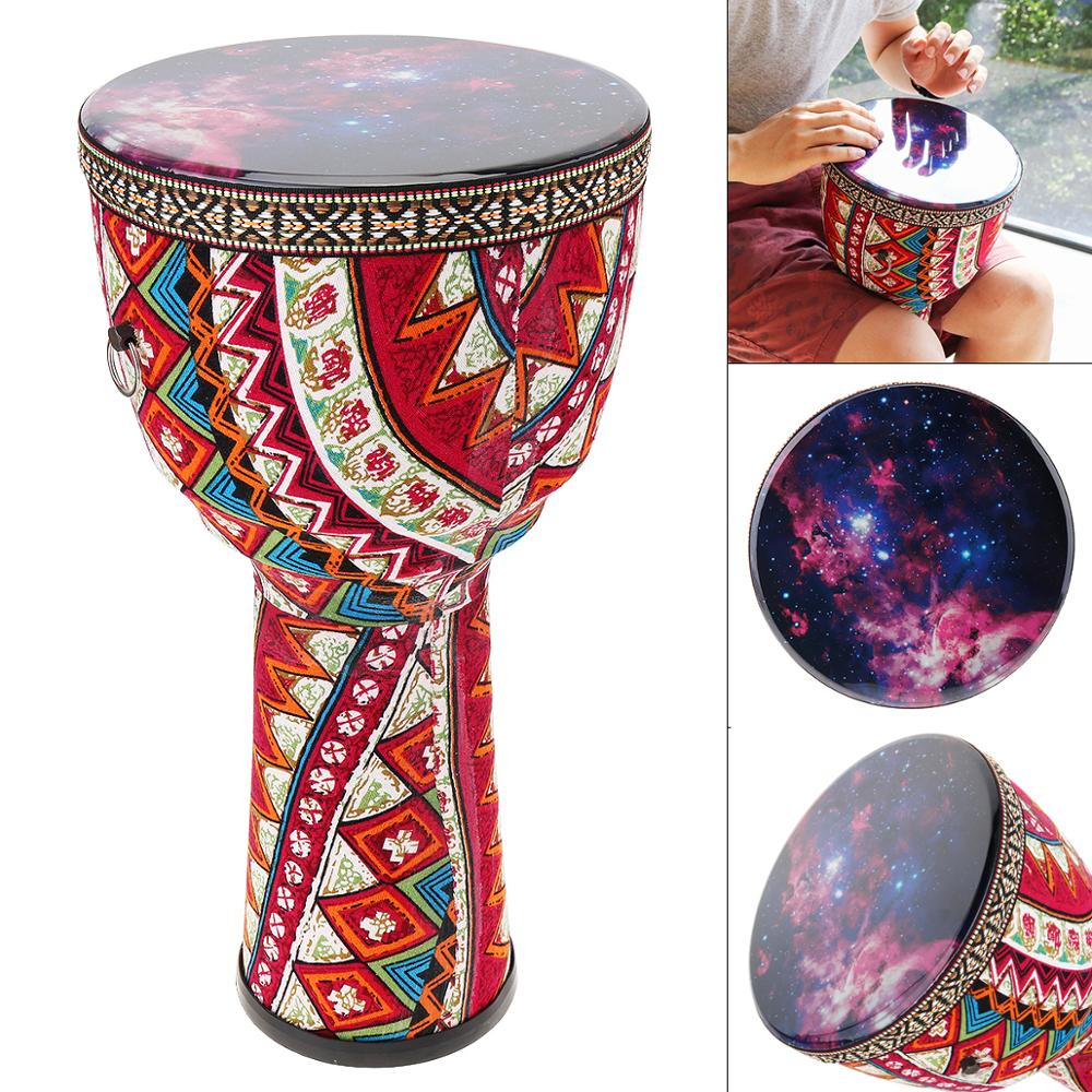Drums 8 Inch African Djembe Drum Colorful Cloth Art ABS Barrel PVC Skin Children Hand Drum Percussion Instruments
