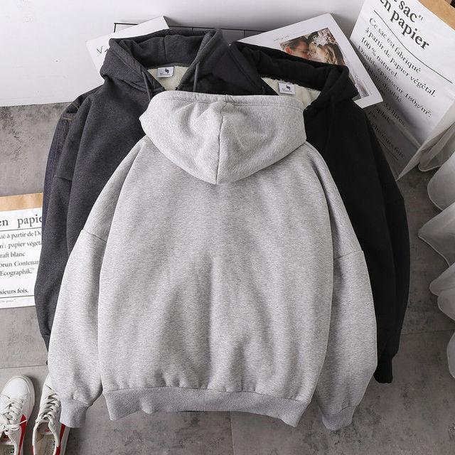Jacket women solid color hoodies 2020 autumn winter imitation lamb wool korean loose plus velvet thick zipper sweatshirt tops 4