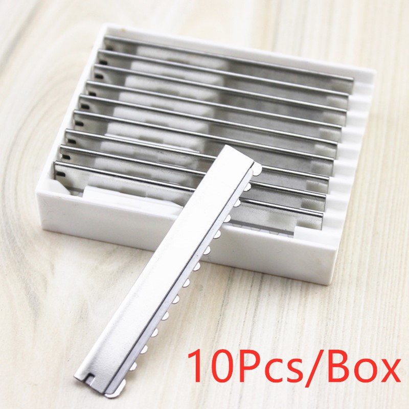 10PCS Sawtooth Razor Replacement Heads Type Salon Blades Home Professional Tool Hairdressing Hair Face Shaving Cutting Styling