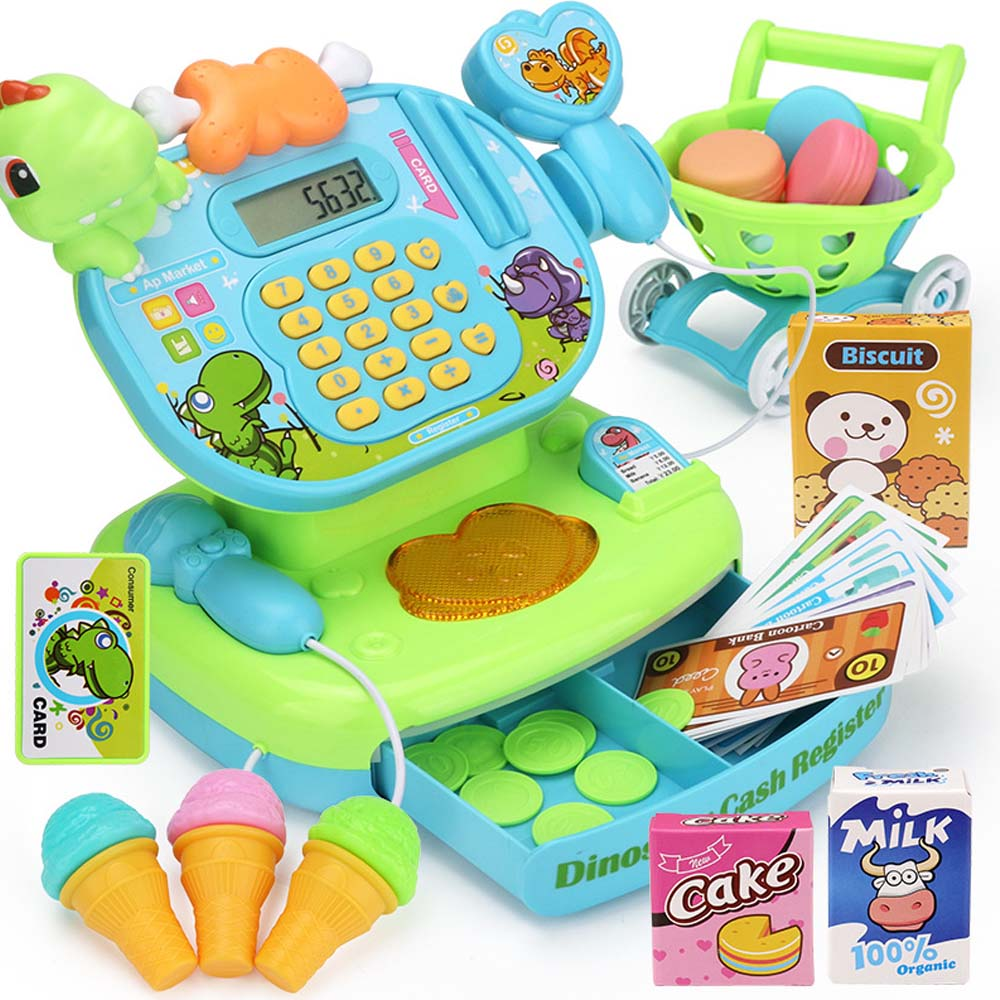 Pretend Play Simulated Supermarket Checkout Counter Mini Role play Cashier Cash Register Set Kids Early Educational Toys