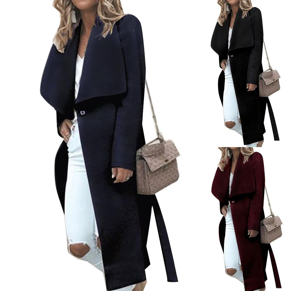 Fall Winter Chic Lady Solid Color Lapel Long Sleeve Button Slit Woolen Overcoat Warm Women Outerwear Winter Coat Casual Slim Fit