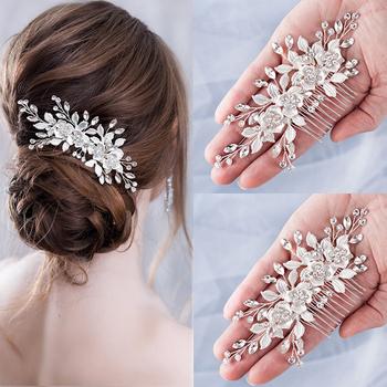 Kwiatowa do włosów grzebień ślubne akcesoria do włosów srebrny Rhinestone kwiat z pałąkiem na głowę dla nowożeńców opaska tiara szpilki do włosów ślubne biżuteria do włosów tanie i dobre opinie AiliBride SILVER Moda Kryształ Włosów grzebienie Kobiety TRENDY Hairwear FS137 PLANT