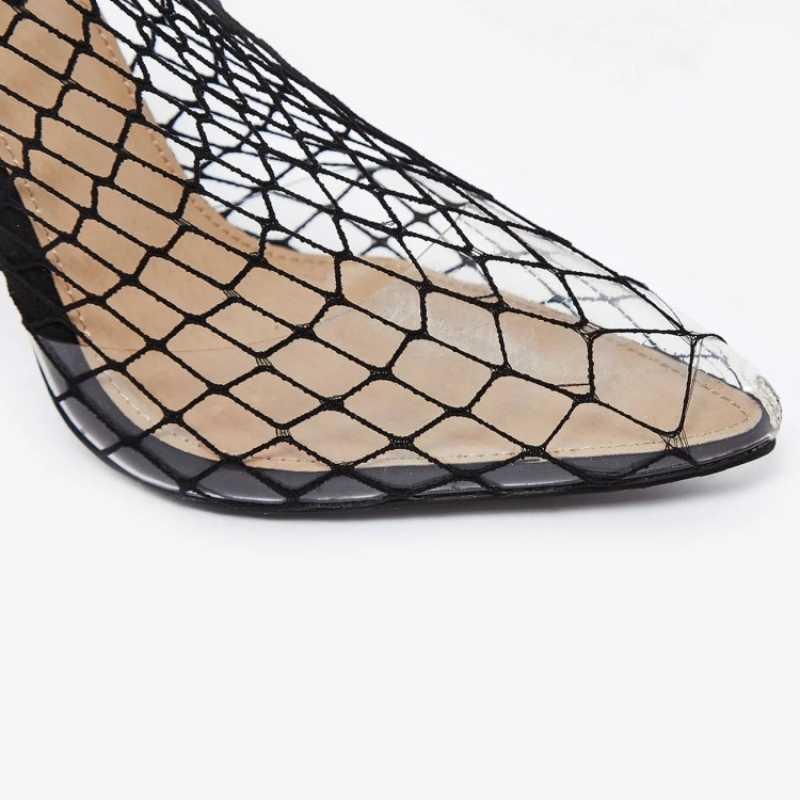 Женские прозрачные босоножки из сетчатого материала на высоком каблуке; ботильоны с острым носком и вырезами; пикантные Прозрачные ботинки на шпильке; Sandalias Mujer; 2020
