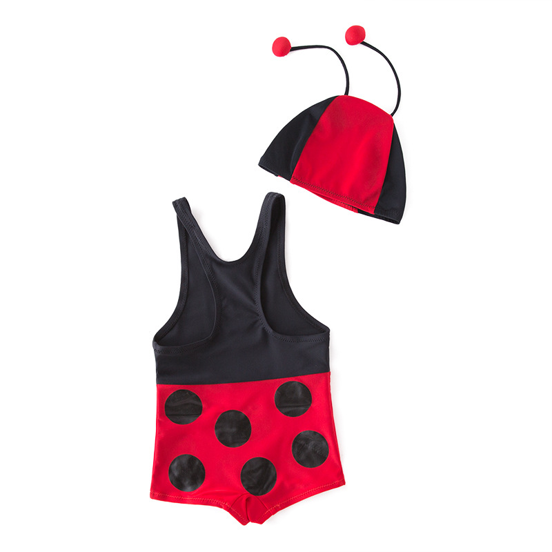 Short In Size Processing KID'S Swimwear One-piece Swimming Suit Red Ladybug Hooded-Children Hot Springs Bathing Suit