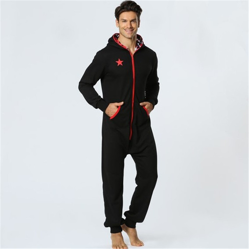 Fashion One Piece Pyjamas Men 2019 New Trend Hooded Sleep Lounge Sleepwear Zipper Solid Sweater Homewear For Adults Men DS50983