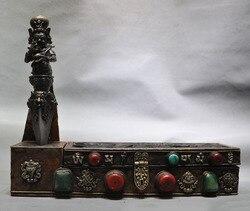 """Dekoracja ślubna 18 """"stary tybet brązowy turkusowy Mahakala srodinty bóstwo Phurba sztylet pojemnik na pudełko w Posągi i rzeźby od Dom i ogród na"""
