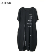 XITAO Europe Style Loose Plus Size Print Black Casual Short Sleeve Tidal Personality Dress