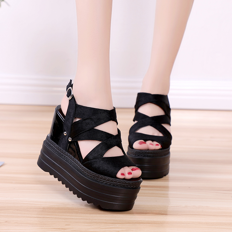 Lucyever Woman Wedges Sandals 2020 Summer Women Peep Toe Platform Shoes Woman Fashion Thick Bottom Gladiator Sandals Black White