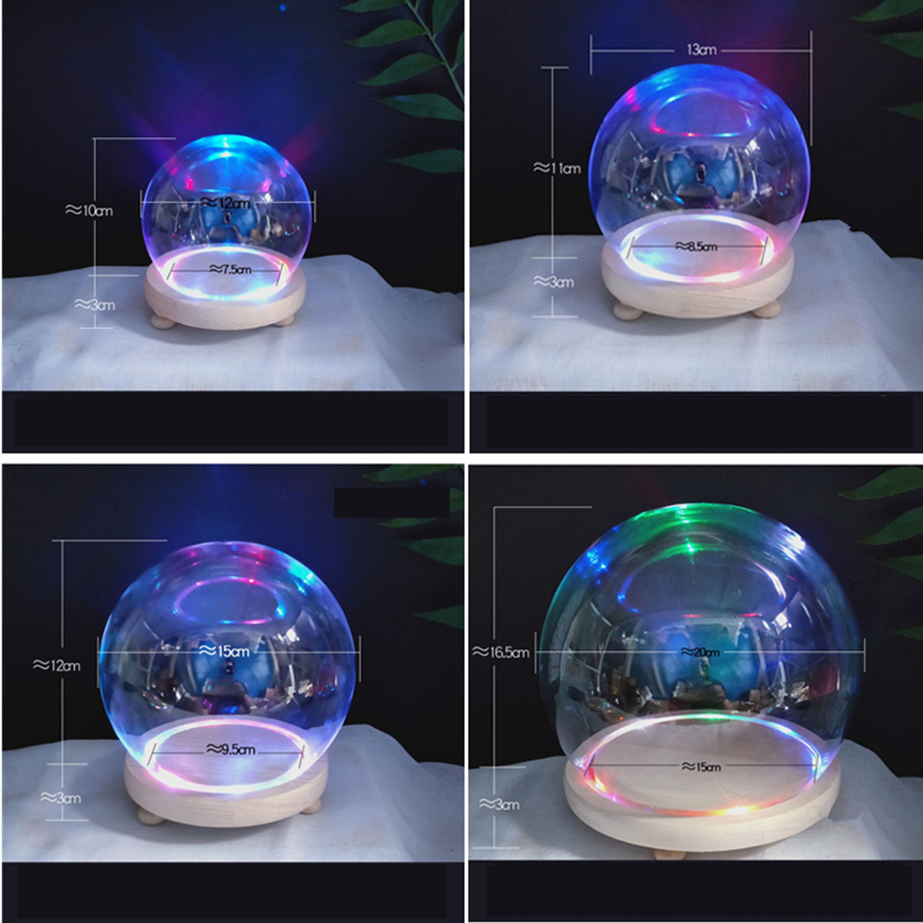 Promotional 20cm Diameter Empty Snow Globe DIY Gift Glass Snow Dome With Base With LED Light Transparent Cake Cover Wholesales