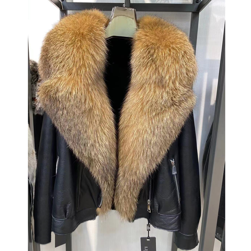 H103513dd3fca419a82939868ee8b8338E Winter Real Fur Coats Natural Women High Quality Genuine Leather Jacket With Big Fox Fur Turn-down Collar Luxury Overcoats 2021